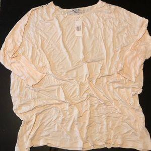 Cream 3/4 Length Sleeve Lightweight Top, L / XL